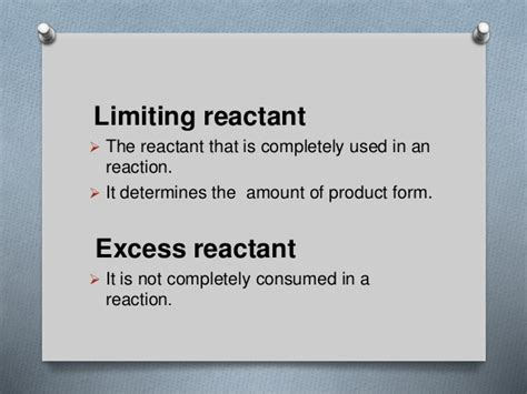 Limiting And Excess Reagent In Chemical Reaction