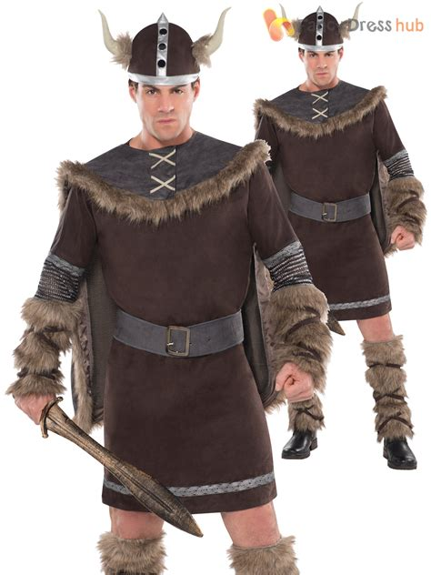 Adults Deluxe Barbarian Viking Costume Mens Warrior Fancy ...