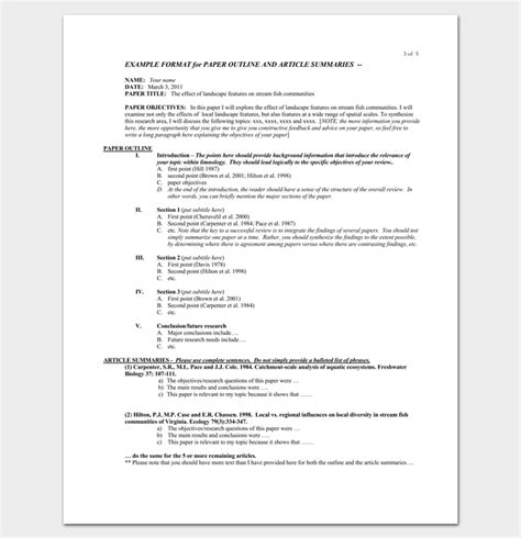 literature review outline template  formats examples samples
