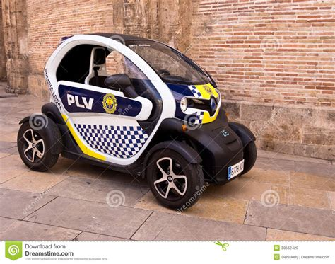 Electric Police Car In Valencia City, Spain Editorial