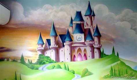 chambre dans chateau fresque murale decoration chambre fille chateau princesse