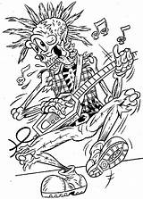 Coloring Skeleton Pages Skull Colouring Halloween Adults Cute Guitar Punk Rock Monster sketch template