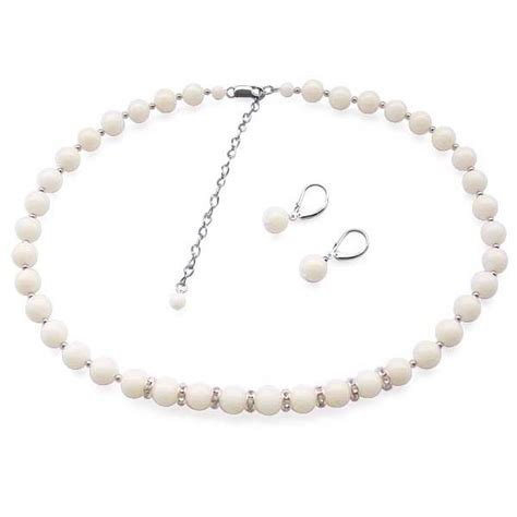 925 Sterling Silver Coral Earrings white coral necklace and earrings set in 925 sterling silver
