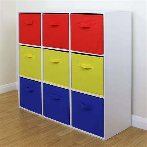 9 Cube Kids Red Yellow & Blue Toygames Storage Unit Girls