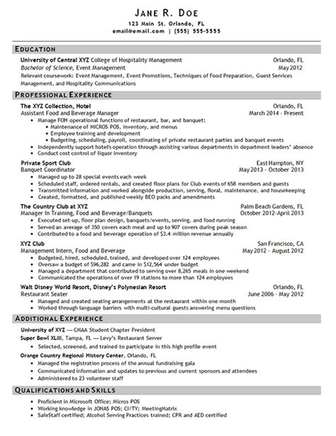hotel manager resume exle sle sourceline