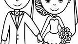Groom Bride Coloring Drawing Clipartmag sketch template