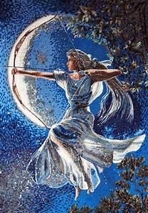 Goddess Diana Marble Mosaic Human Figures Mozaico