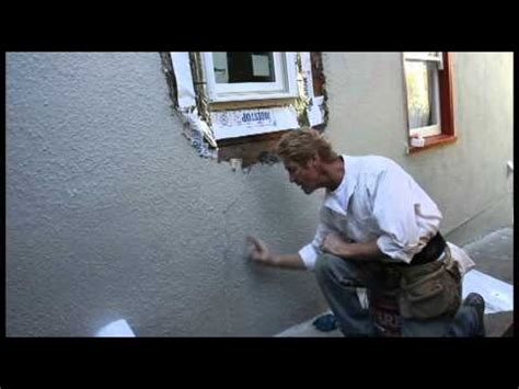 break  stucco  repair  newly installed window