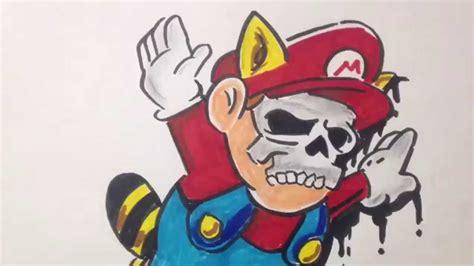 Graffiti Mario : Mario Graffiti Skull Character With Markers On Paper