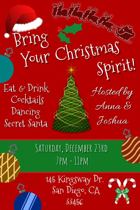 christmas party invitation template postermywall