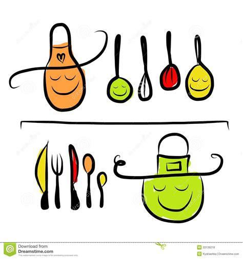 kitchen utensils characters  shelves sketch stock