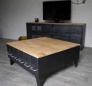 Table Basse Style Industriel : grande table basse industrielle avec tiroirs m tal et bois ~ Melissatoandfro.com Idées de Décoration