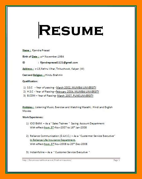 Resume Sles Word Format by Simple Resume Format In Word Template Business
