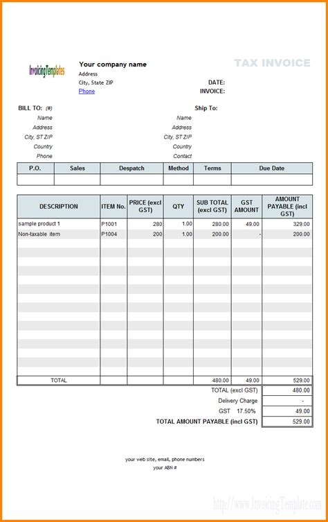 tax invoice bill format excel simple bill