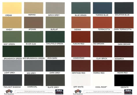 Roof One Corporation Roofing Colour Chart - Lentine Marine ...