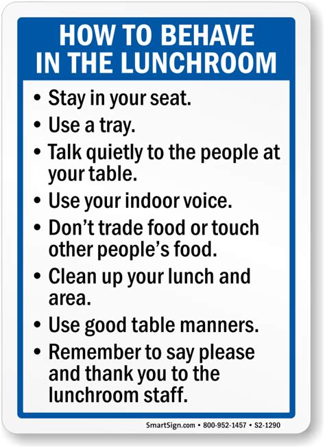 How To Behave In Lunchroom Sign, Sku S21290