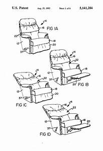 Patent Us5141284 - Wall Proximity Reclining Chair Mechanism