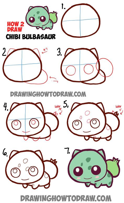 draw cute baby chibi bulbasaur  pokemon  easy