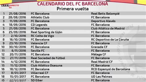 Calendario FC Barcelona LaLiga 2016-17