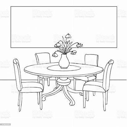 Dining Fitting Vase Flowers Drawing Line Drawn