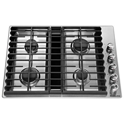 stainless steel gas cooktop kitchenaid 30 in gas downdraft cooktop in stainless steel