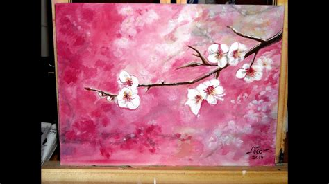 timelapse acrylic painting cherry blossoms   paint