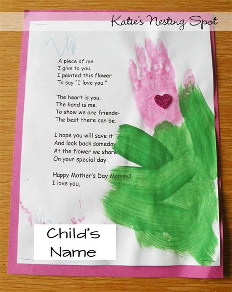mothers day projects handprint flowers preschool