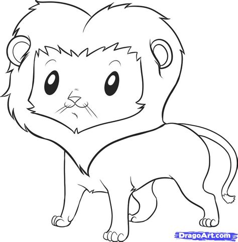 easy cute animal drawings   draw  lion step