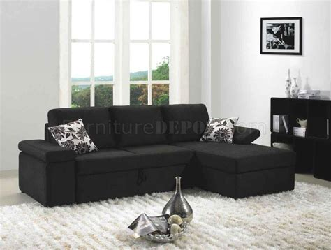 Black Fabric Modern Sectional Sofa Set W Bed