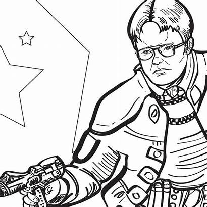 Coloring Office Dwight Printable Adult Funny Pdf