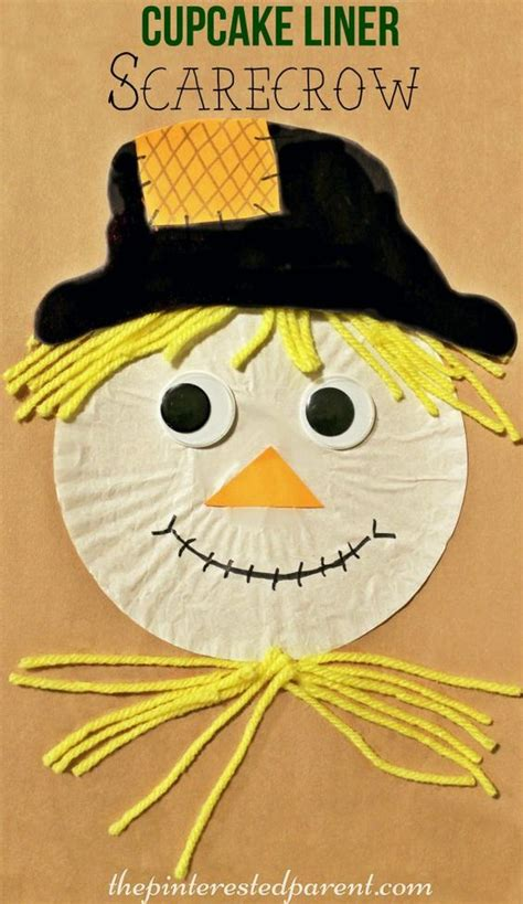 cupcake liner scarecrow craft fall autumn arts 739 | a5f4dbc7d66d46a758eef3fa4f693755