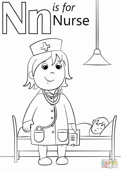 Nurse Coloring Letter Pages Printable Preschool Preschoolers