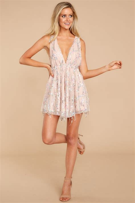 flirty pink sequin dress short sparkly cocktail dress