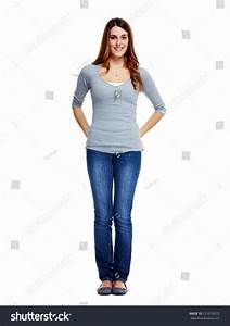 Standing Woman Isolated On White Background Stock Photo ...