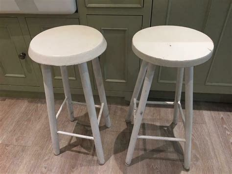 wooden stools pair tall painted ended ad