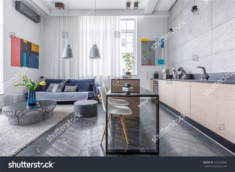 41071 modern living room with open kitchen modern apartment living room open kitchen stock photo