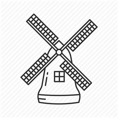 Windmill Dutch Wind Mill Drawing Icon Turbine