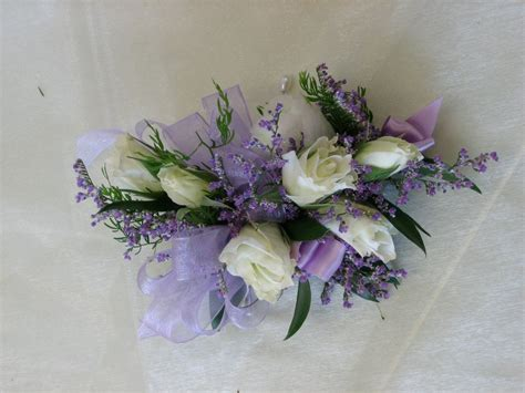 Wrist corsage white and lavender Boutonniere And