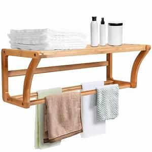 Bamboo, Wall, Shelf, Towel, Bar, Wall-mounted, Storage, Display, Rack, Bathroom, Shelf
