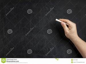 Hand Holding Chalk Blank Blackboard Stock Photo - Image ...