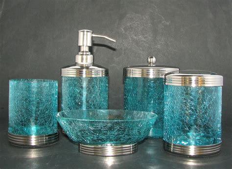 5 pc cracked blue glass chrome set soap dispenser jar w lid 3 other items ebay