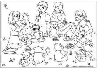 teddy bears picnic colouring card