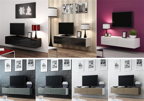 high gloss tv cabinet entertainment unit floating wall