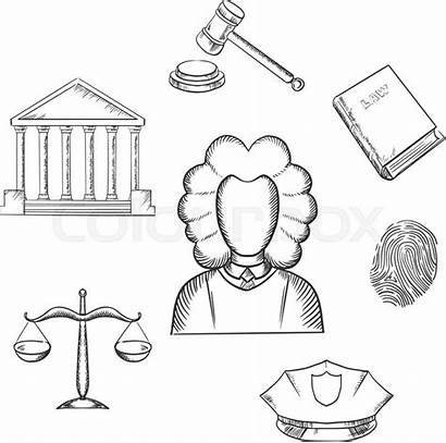 Justice Law Lawyer Judge Court Sketch Vector