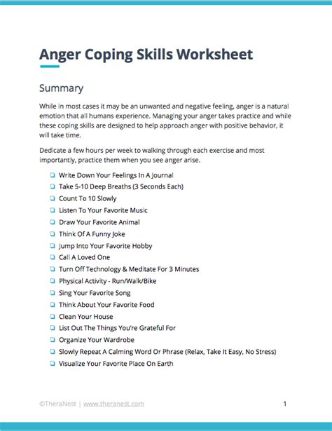 anger coping skills worksheet therapy