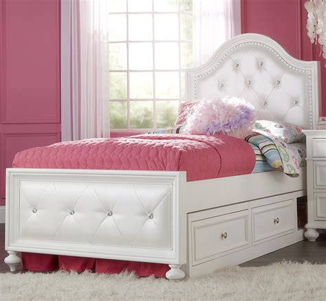 White Tufted Twin Bed With Storage Drawers And Curved