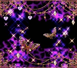Glittery butterfly wallpaper (purple, black, and gold ...