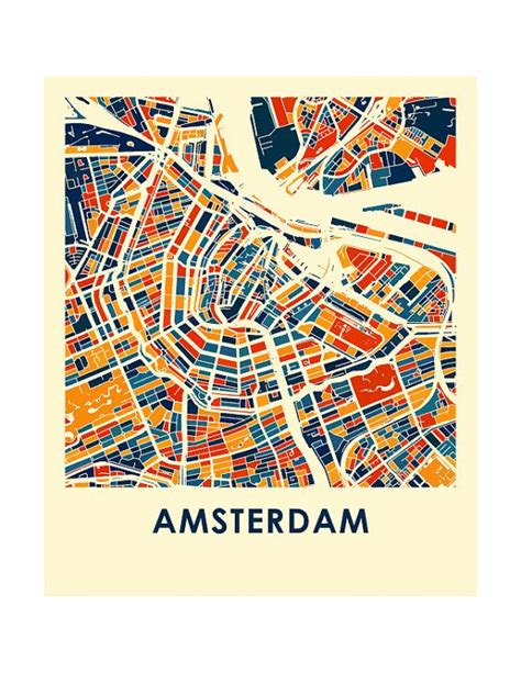 amsterdam map print full color map poster abstract