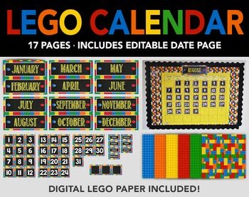 lego bulletin board calendar  lego digital paper