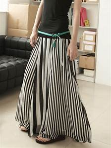 Simply Chic. Monochrome Chiffon Black And White Stripes Long Skirt - Skirts